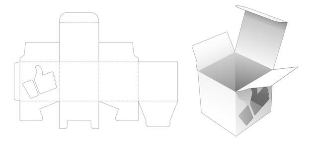 Vierkante verpakking met geliefde icoonvormige windpw gestanste sjabloon Premium Vector