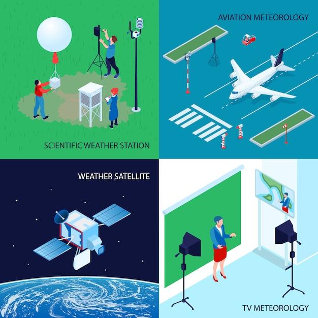 Vierkanten isometrisch meteorologisch weercentrumconcept met wetenschappelijke weerstationtv en luchtvaartmeteorologie Gratis Vector