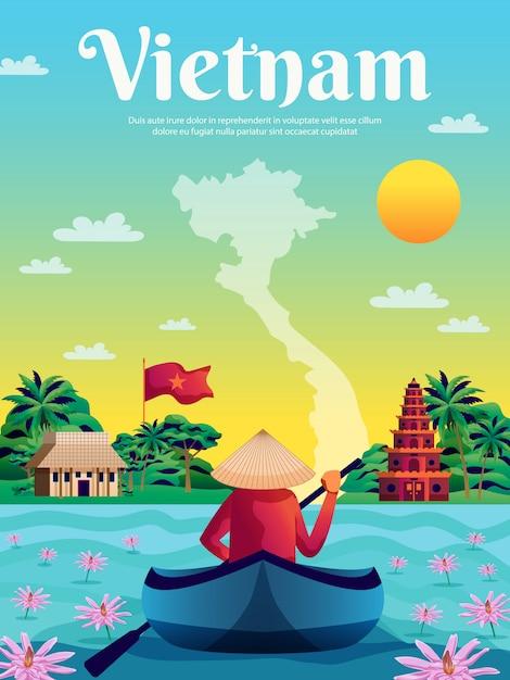 Vietnam gekleurde poster Gratis Vector