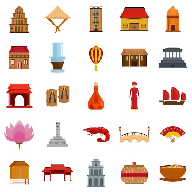 Vietnam reizen toeristische pictogrammen instellen vlakke stijl Premium Vector