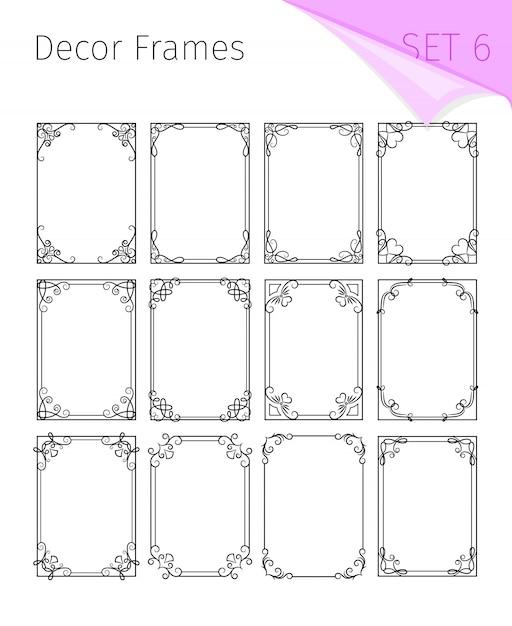 Vignet frames, art nouveau border decoratief Premium Vector