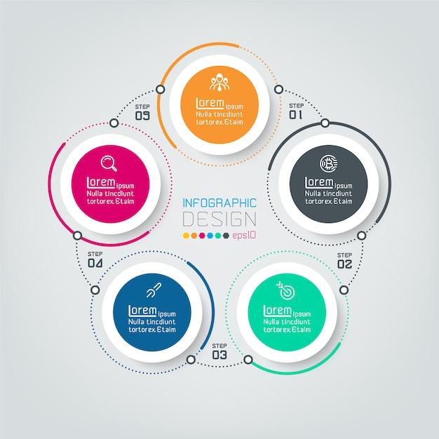 Vijf aansluitende cirkel infographics. Premium Vector