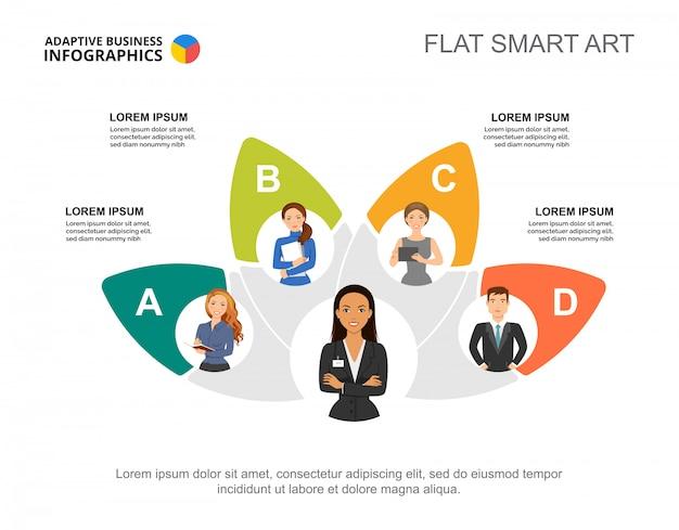 Vijf collega's team proces grafieksjabloon voor presentatie Gratis Vector