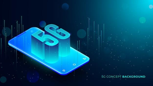 Vijf g technische achtergrond met blauwe gloeiende stippen 3d-tekst komt uit telefoon Premium Vector