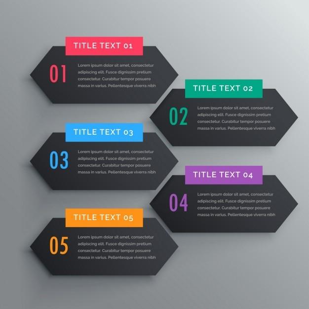 Vijf infographics stappen banners in donkere thema Gratis Vector