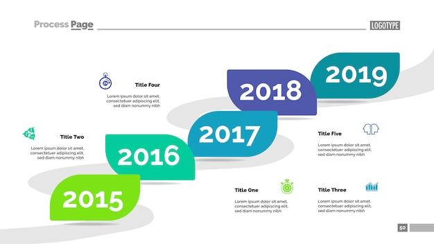 Vijf jaar tijdlijn proces grafieksjabloon. visualisatie van bedrijfsgegevens. Gratis Vector
