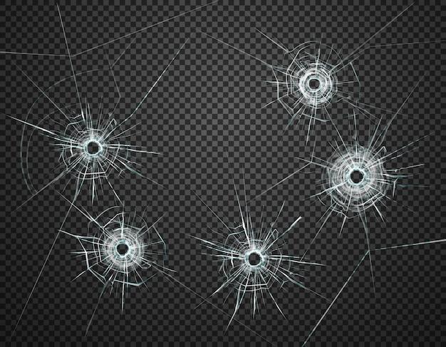 Vijf kogelgaten in het realistische beeld van de glasclose-up tegen donkere transparante illustratie als achtergrond Gratis Vector