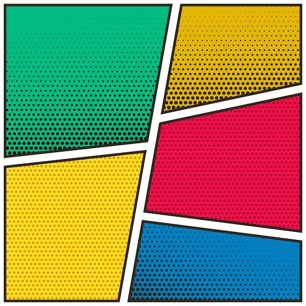 Vijf lege stripboekpagina kleurrijke sjabloon achtergrond Gratis Vector