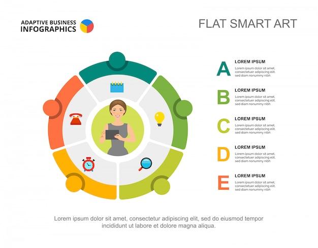 Vijf letters verwerken grafieksjabloon voor presentatie. visualisatie van bedrijfsgegevens. Gratis Vector