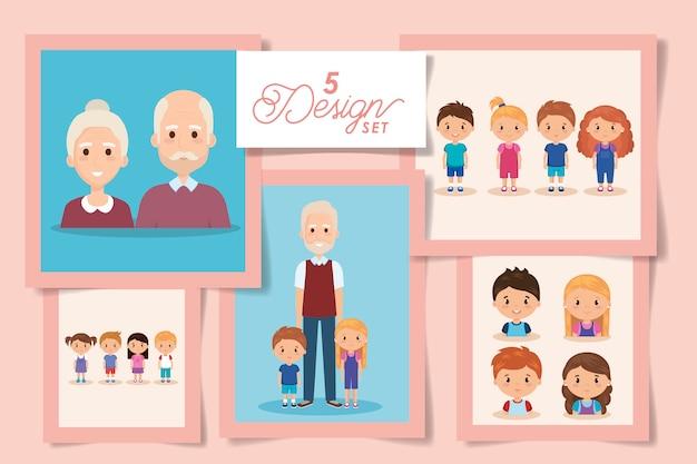 Vijf ontwerpen van grootouders met kleinkinderen Premium Vector
