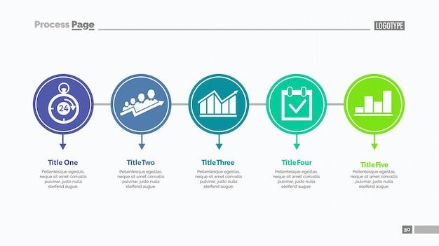 Vijf opties slide template Gratis Vector