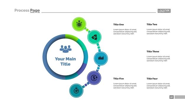 Vijf opties zakelijke aanpak proces grafieksjabloon. visualisatie van bedrijfsgegevens Gratis Vector