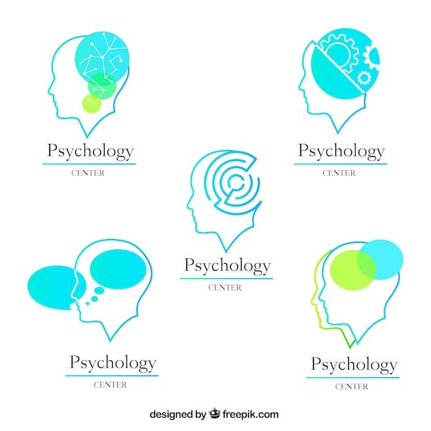 Vijf psychologie logo's met verschillende ontwerpen Gratis Vector