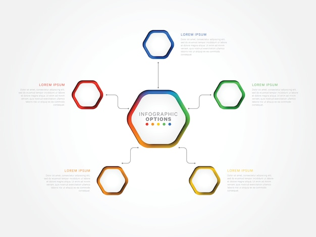 Vijf stappen 3d infographic sjabloon met zeshoekige elementen. bedrijfsprocessjabloon met optie Premium Vector