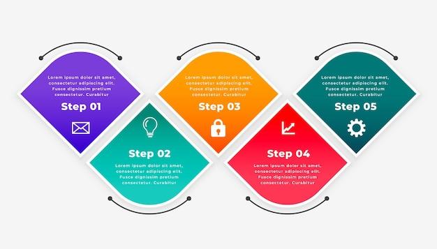 Vijf stappen tijdlijn infographic sjabloon Gratis Vector