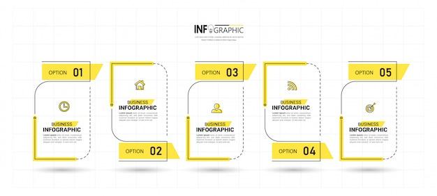 Vijf stappen tijdlijn infographics ontwerp Premium Vector