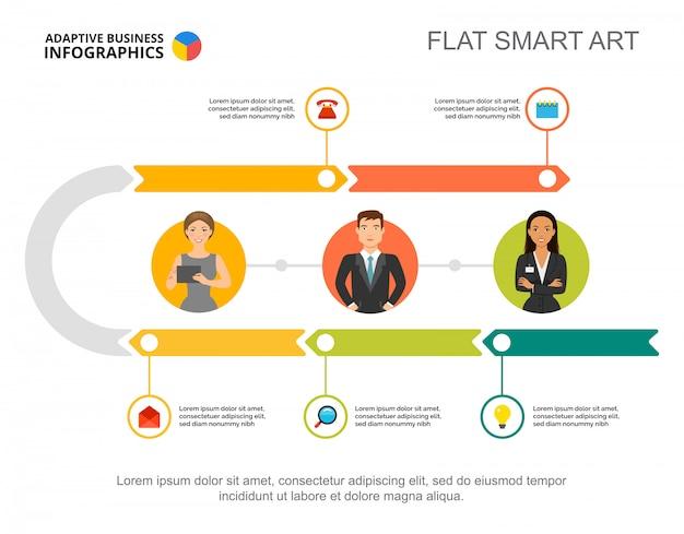 Vijf stappen workflowsjabloon processchema voor presentatie Gratis Vector