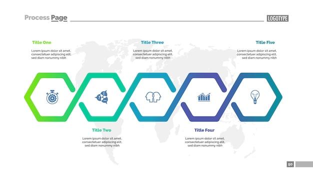 Vijf stappen workflowsjabloon voor diagrammen. visualisatie van bedrijfsgegevens. Gratis Vector