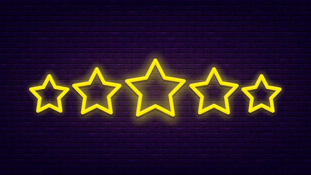 Vijf sterren. lichte, heldere neonbanner bij bakstenen muur. uitstekende kwaliteitsbeoordeling. Premium Vector