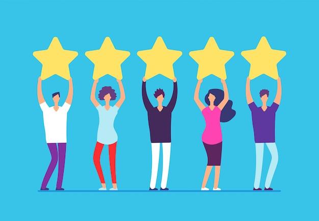 Vijf sterren rating concept. positieve feedback van klanten. Premium Vector