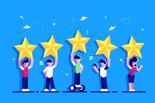 Vijf sterren rating vlakke stijl vector concept. mensen houden sterren boven het hoofd. feedback evaluatie van consumenten of klanten, tevredenheid en kritiek. beoordeling. feedback voor webpagina. Premium Vector