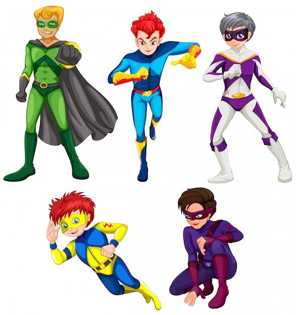 Vijf superhelden Gratis Vector