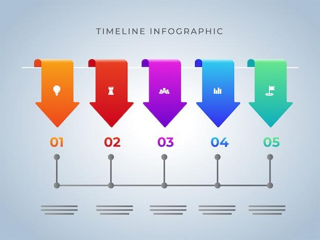 Vijf verschillende stappen tijdlijn infographic sjabloonontwerp voor bu Premium Vector