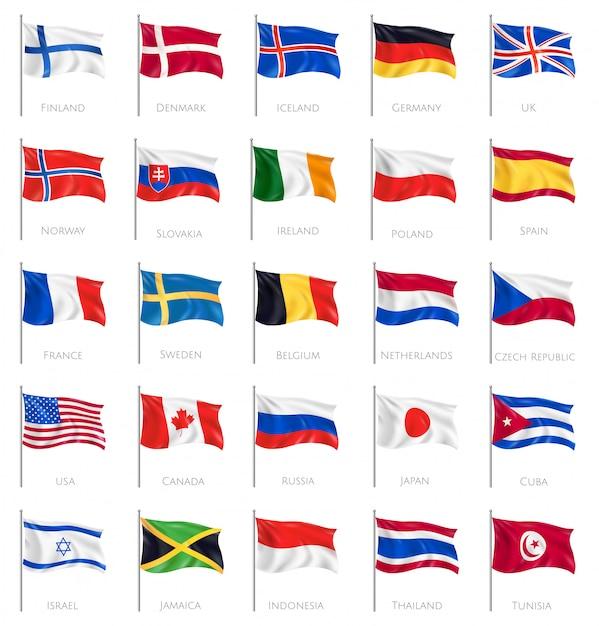 Vijfentwintig geïsoleerde golvende nationale vlaggen op wit met inscriptie van landen namen realistisch Gratis Vector
