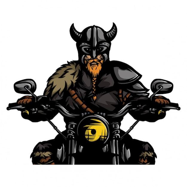 Viking die motorfietsvector bevrijden Premium Vector