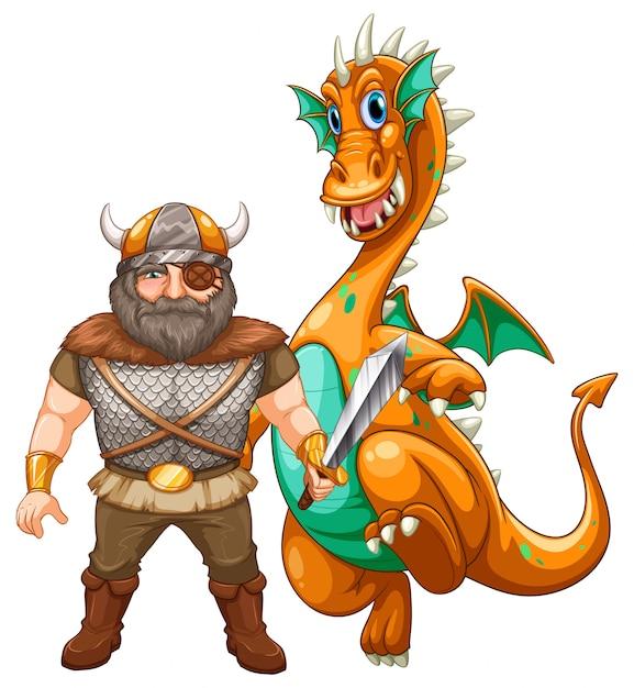 Viking en draak Gratis Vector