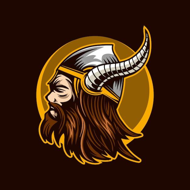 Viking het barbaarse hoofd Premium Vector