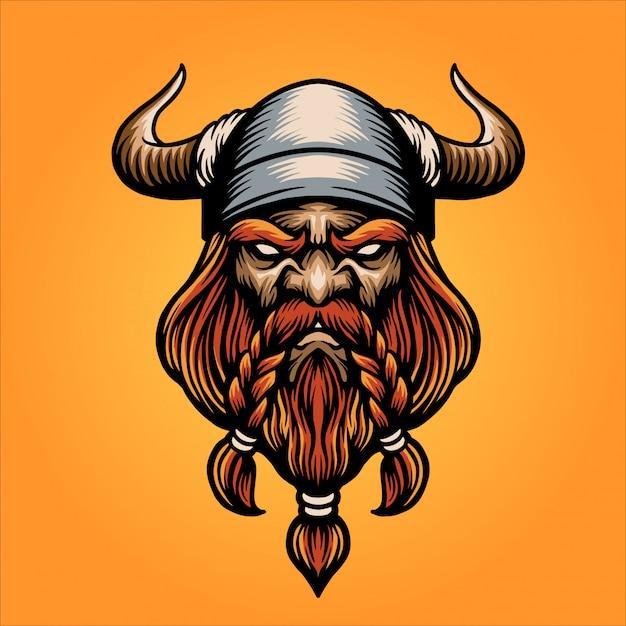 Viking hoofd mascotte Premium Vector