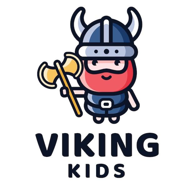 Viking kids logo sjabloon Premium Vector