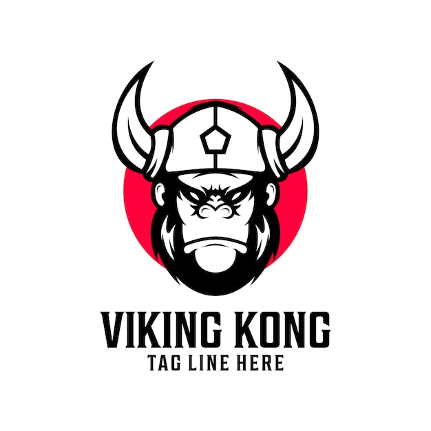 Viking kingkong logo ontwerp vector sjabloon Premium Vector