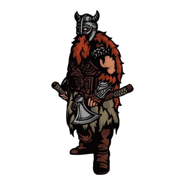 Viking leger met bijl en helm en klaar om te oorlog Premium Vector