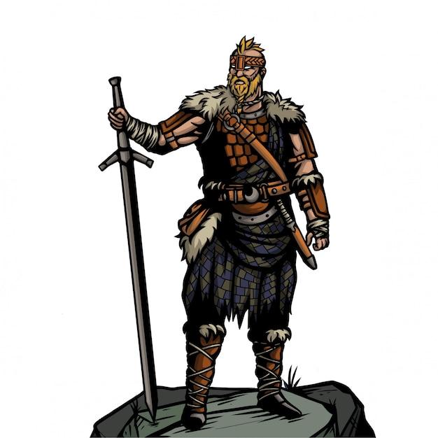 Viking-leger met lang zwaard die zich op de steen bevinden Premium Vector