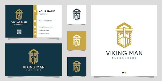 Viking man logo met lijn kunststijl en visitekaartje ontwerpsjabloon Premium Vector