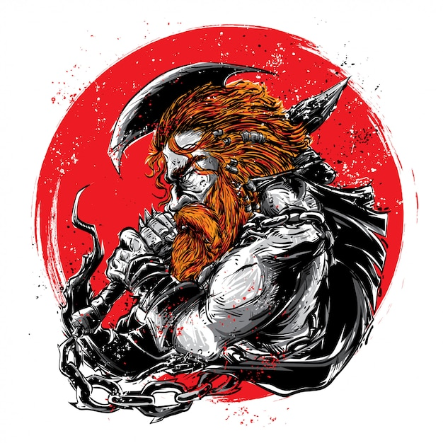 Viking man met rode maan Premium Vector
