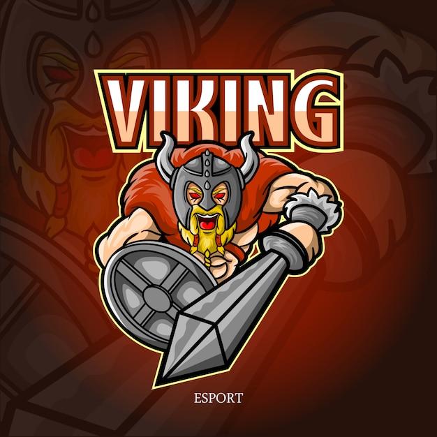 Viking mascotte esport logo ontwerp Premium Vector