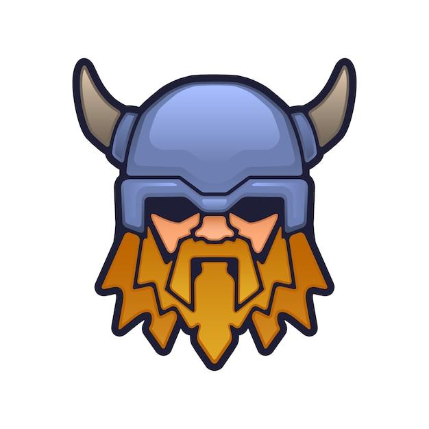 Viking mascotte hoofd Premium Vector