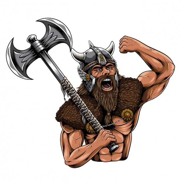 Viking noorman illustratie Premium Vector