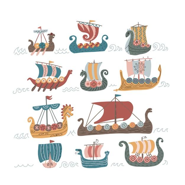 Viking scandinavische normandische schepen ingesteld Premium Vector