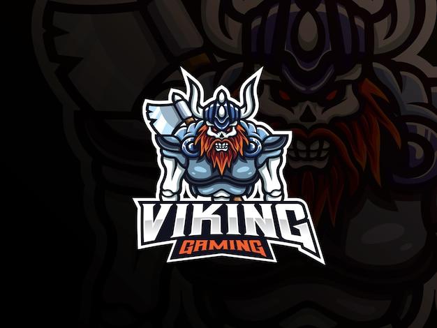 Viking schedel mascotte sport logo ontwerp Premium Vector
