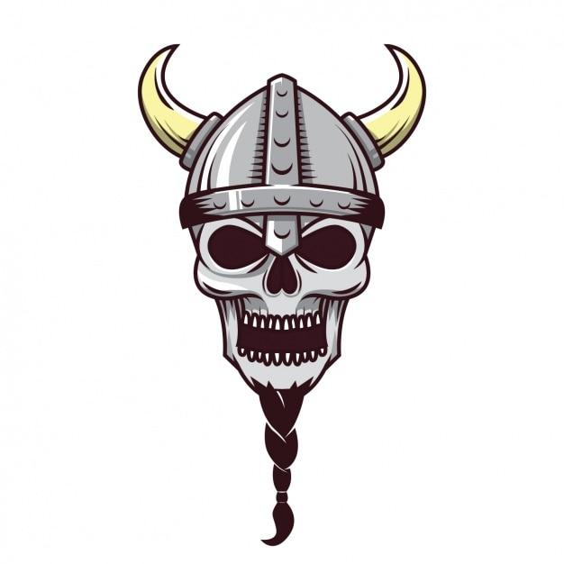 Viking schedel ontwerp Gratis Vector
