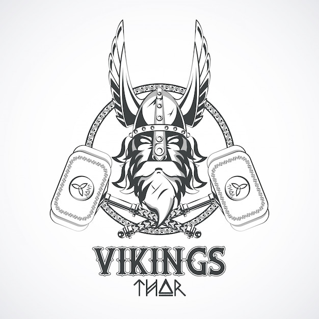 Vikingen krijgers afgedrukte t-shirt Gratis Vector