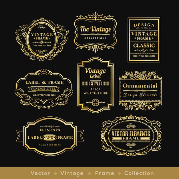 vinage goud retro logo kader badge design elementen Gratis Vector
