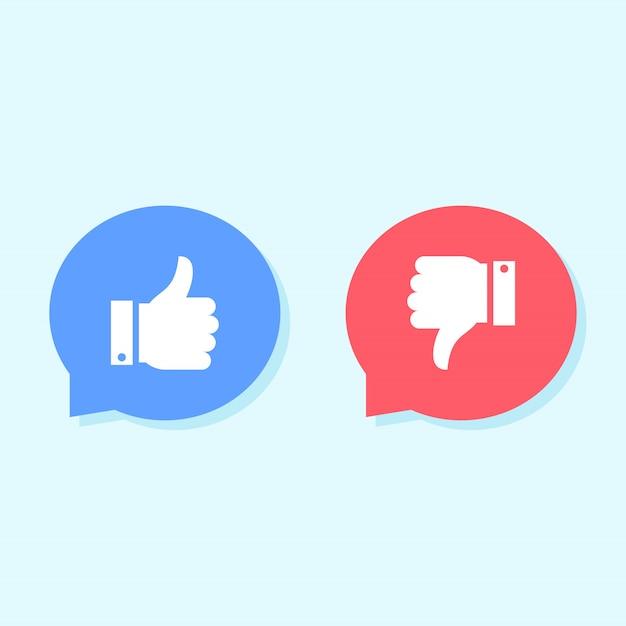 Vind ik leuk en niet leuk pictogrammen, social media iconen Premium Vector