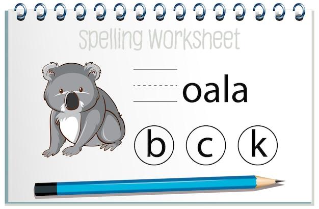 Vind ontbrekende brief met koala Gratis Vector