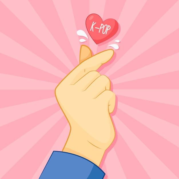 Vinger hart handgetekende Gratis Vector