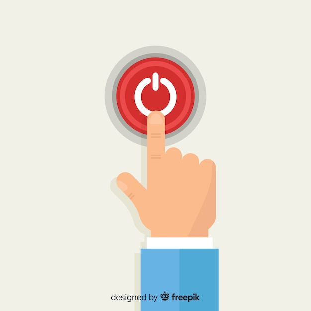 Vinger op rode startknop in platte ontwerp te drukken Gratis Vector
